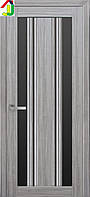 Дверь межкомнатная Новый стиль Верона С2 ПВХ Итальяно жемчуг серебряный стекло BLK