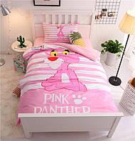 КОМПЛЕКТ ПОСТЕЛЬНОГО БЕЛЬЯ. Ткань БЯЗЬ. размер - ПОЛУТОРКА, 1,5-ка. Цвет розовый, белый. Розовая пантера
