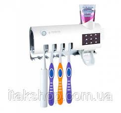 Тримач Дозатор для зубної пасти та щітки Toothbrush sterilizer УФ-стерилізатор Диспенсер, фото 2