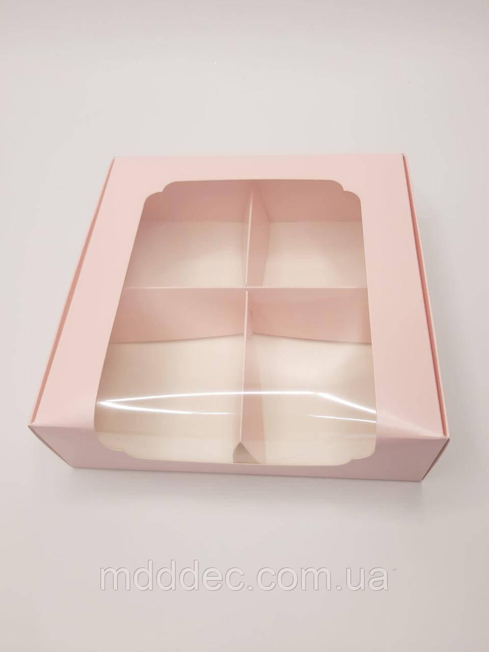 Коробка для десертов 200*200*60 с окном Фламинго