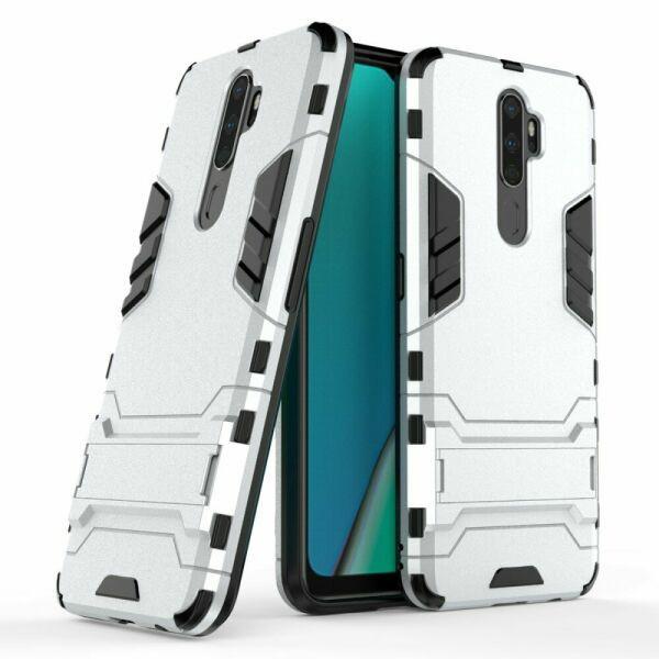 Чехол Hybrid case для Oppo A5 2020 бампер с подставкой светло-серый