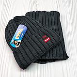 """М 94032 Комплект для хлопчика шапка """"M"""" на флісі і снуд, різні кольори, фото 6"""