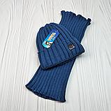 """М 94032 Комплект для хлопчика шапка """"M"""" на флісі і снуд, різні кольори, фото 9"""