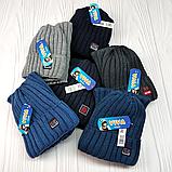 """М 94032 Комплект для хлопчика шапка """"M"""" на флісі і снуд, різні кольори, фото 10"""