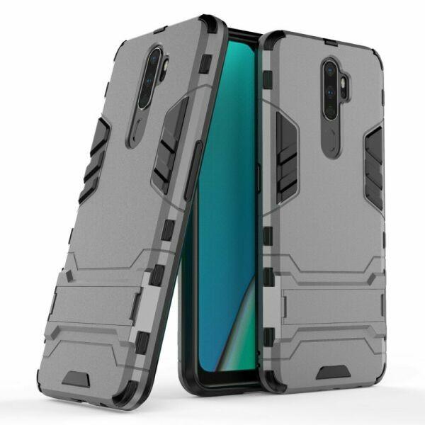 Чехол Hybrid case для Oppo A9 2020 бампер с подставкой темно-серый