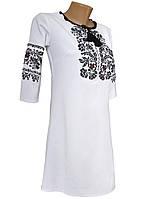 Женское белое платье вышиванка с рукавом 3/4 и длиной до колен