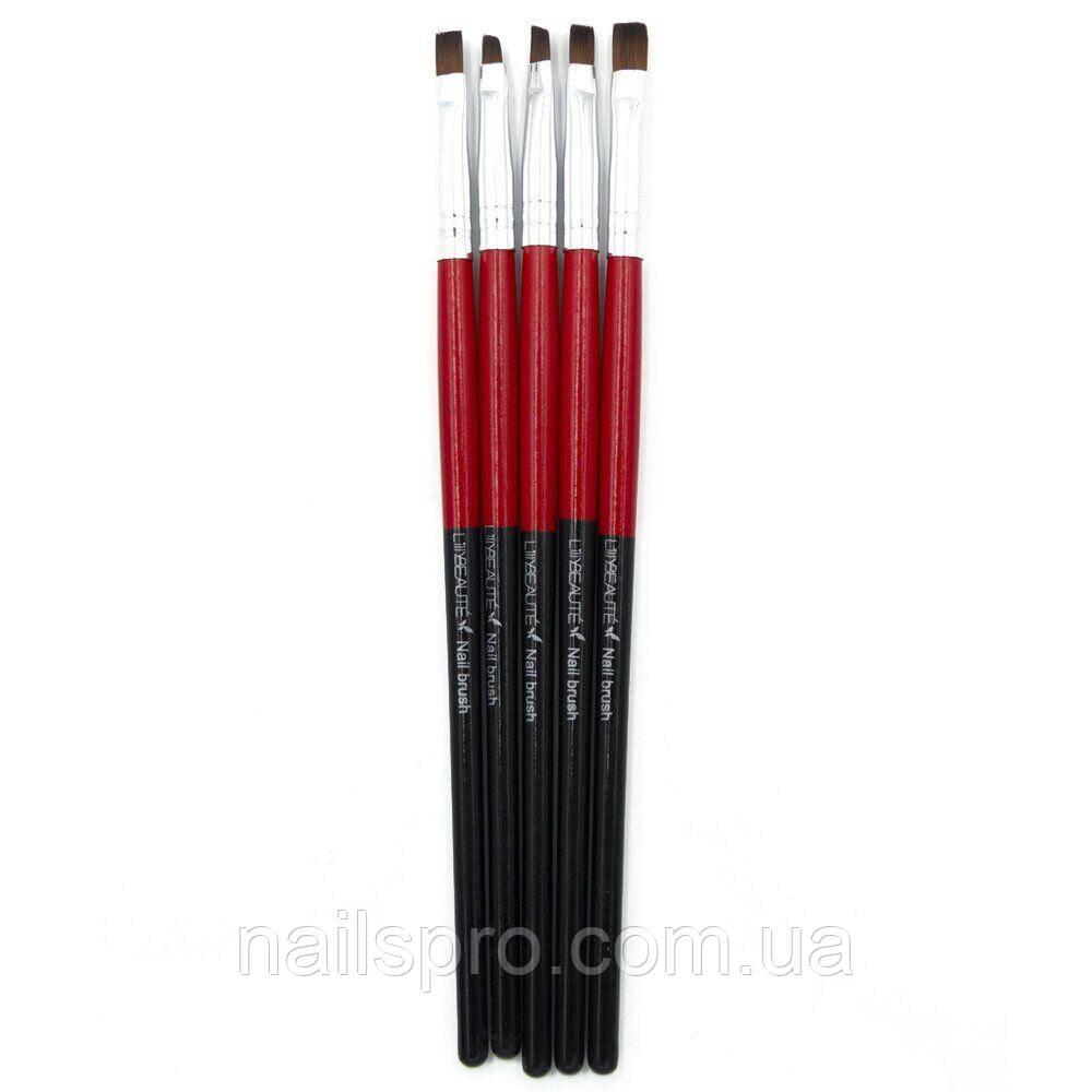 Набор кистей для маникюра Lilly Beaute 5 шт плоские разного размера — Чёрно-красные
