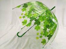 Прозрачный зонт глубокий купол трость 8 спиц цвет зеленый и оранжевый
