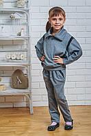 Костюм для девочки с брюками серый