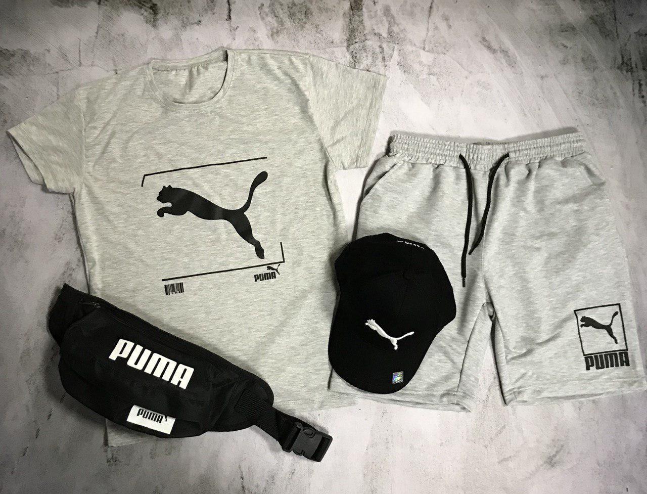 Мужской спортивный костюм (футболка и шорты) Puma Barcode Gray