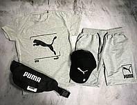 Мужской спортивный костюм (футболка и шорты) Puma Barcode Gray, фото 1