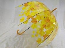 Прозрачный зонт с куполом грибок трость 8 спиц цвет жёлтый и синий