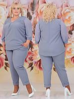 Женский костюм двойка (блуза + брюки) Батал 48 - 62 рр шифон + евро костюмка, фото 1