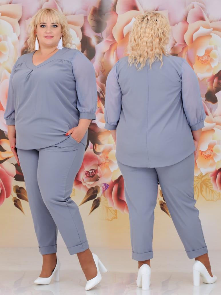 Женский костюм двойка (блуза + брюки) Батал 48 - 62 рр шифон + евро костюмка