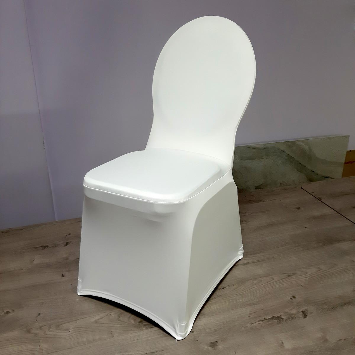 Стрейч Чохол на Круглий стілець з Цупкої тканини Спандекс Білий