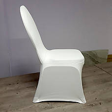 Стрейч Чохол на Круглий стілець з Цупкої тканини Спандекс Білий, фото 3
