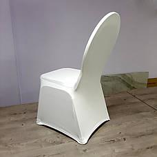 Стрейч Чохол на Круглий стілець з Цупкої тканини Спандекс Білий, фото 2