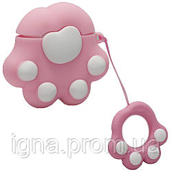 Silicone Case with carbine for AirPods Paws(Pink)
