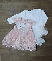 Турецкое ясельное платьес пинетками и повязкой котон,Нарядные платья для новорожденных,Турецкая детская одежда