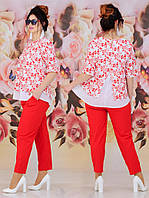 Женский костюм двойка (блуза + брюки) Батал 48 - 62 рр, фото 1