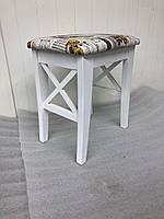 Табурет Соло для кухни деревянный c мягким сиденьем Скиф