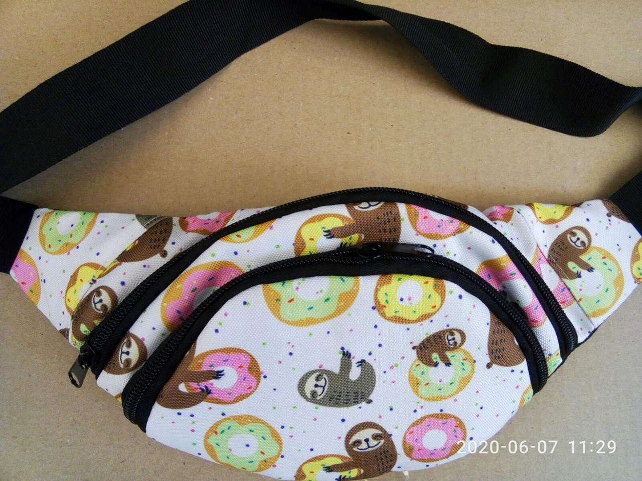 Поясная сумка Бананка сумка на пояс тканевая с ярким принтом молодежная