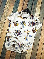 Мужская Футболка Голубо-желтые Цветы, фото 1