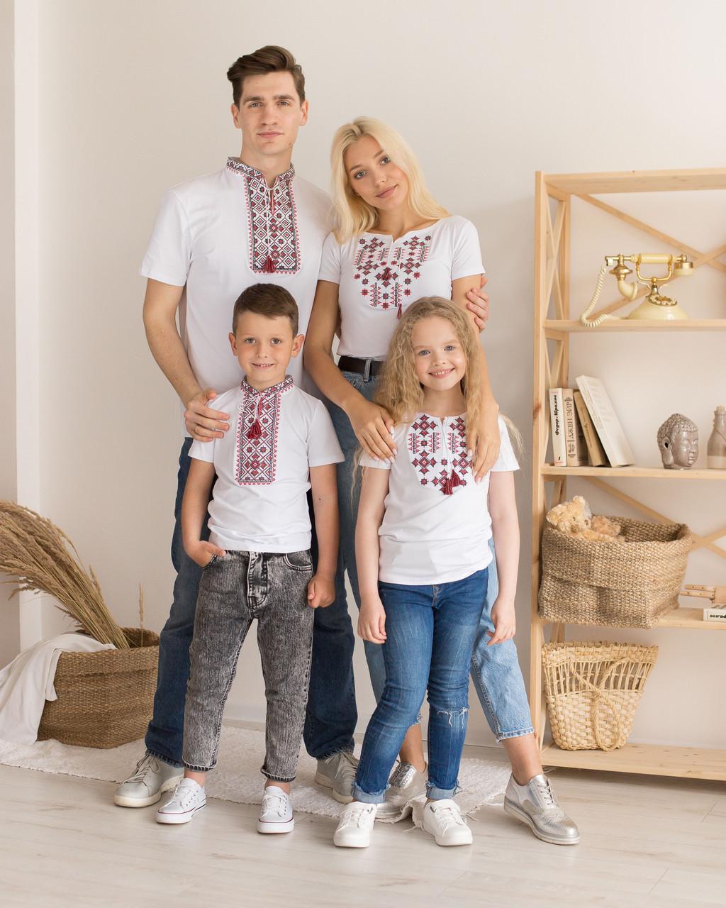 Парні футболки вишиванки для всієї сімї Орнамент червоний