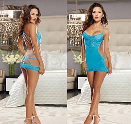 Кружевное эротическое платье №65, синее