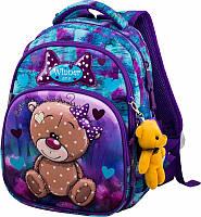 Рюкзак школьный на 1 класс для девочки Мишка Winner One 1707 34*25*16 см
