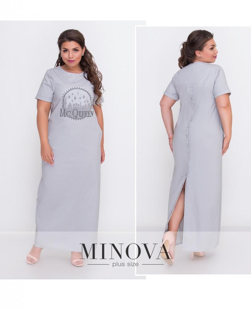 Платье №00042-серый