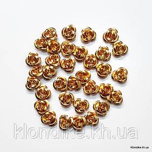 Розочки из алюминия, 9 мм, Цвет: Золото (35~40 шт.)