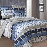 Полуторное постельное белье бязь гост синее серое квадраты ТМ Блакит  хлопок 120 г/м. кв.