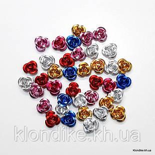 Розочки из алюминия, 11 мм, Цвет: Микс (35~40 шт.)