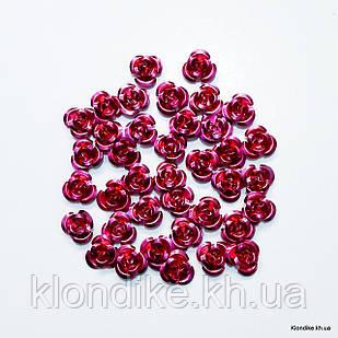 Розочки из алюминия, 11 мм, Цвет: Малиновый (35~40 шт.)