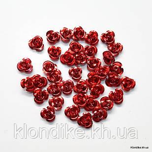 Розочки из алюминия, 11 мм, Цвет: Красный (35~40 шт.)