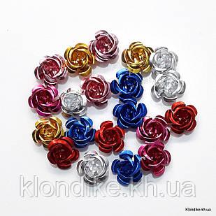 Розочки из алюминия, 15 мм, Цвет: Микс (17~19 шт.)