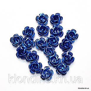 Розочки из алюминия, 15 мм, Цвет: Синий (17~19 шт.)