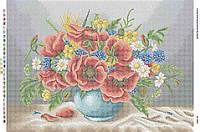 Схема для вышивания бисером ''Маки в вазе с голубым фоном'' А2 42x59см