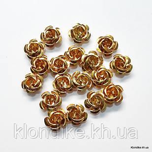 Розочки из алюминия, 15 мм, Цвет: Золото (17~19 шт.)