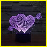 Светильник с 3D (3д) эффектом сердцем и стрелой