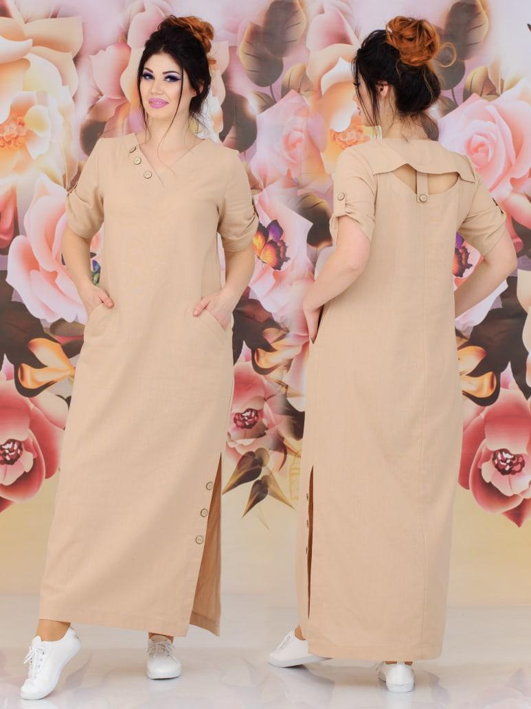 Женское длинное платье  батал с 48 по 62 рр натуральный лён