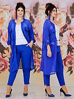 Женский костюм двойка (кардиган + брюки) Батал 48 - 62 рр тиар + шифон, фото 1