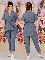 Женский костюм двойка (туника + брюки) Батал 48 - 62 рр лён габардин, фото 1
