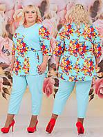 Женский костюм двойка (блуза + брюки) Батал 48 - 62 рр шифон + костюмка, фото 1