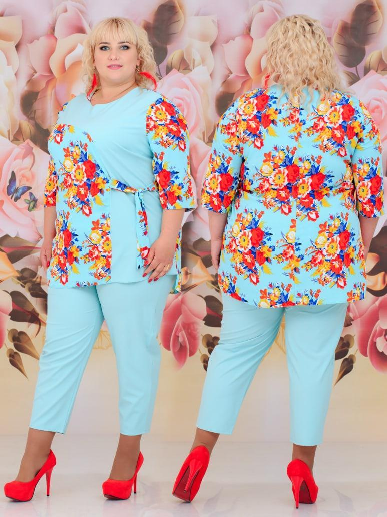Женский костюм двойка (блуза + брюки) Батал 48 - 62 рр шифон + костюмка