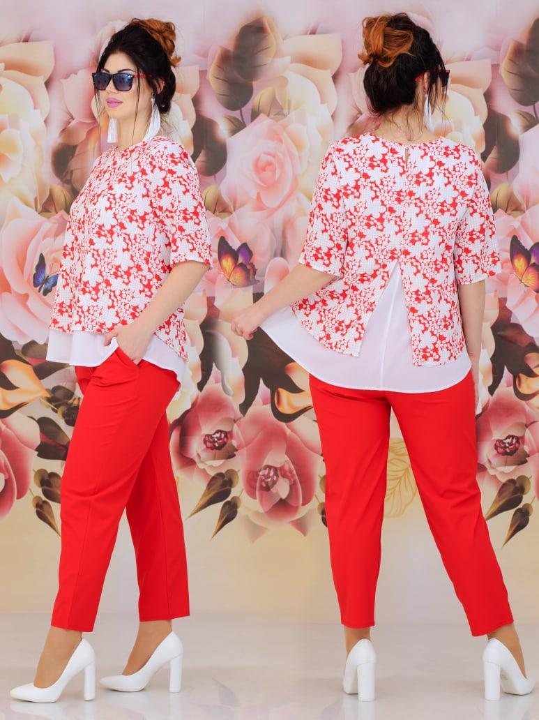 Женский костюм двойка (блуза + брюки) Батал 48 - 62 рр