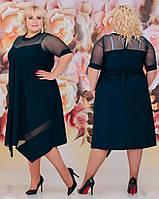 Женское свободное платье батал с 48 по 62 рр евро костюмка
