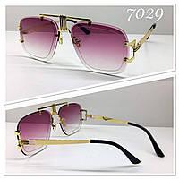 Стильные солнцезащитные очки авиаторы многогранники линзы градиент лиловые