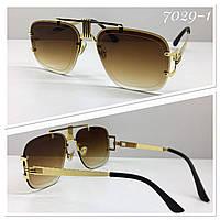 Стильные солнцезащитные очки авиаторы многогранники линзы градиент коричневые